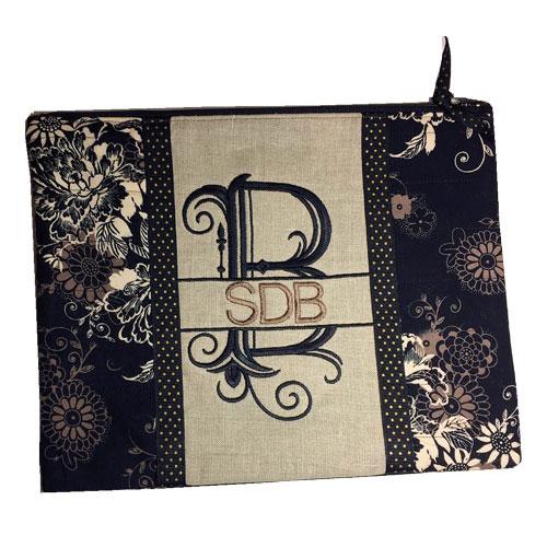 Split Letter Monogram Lined Zipper Bag