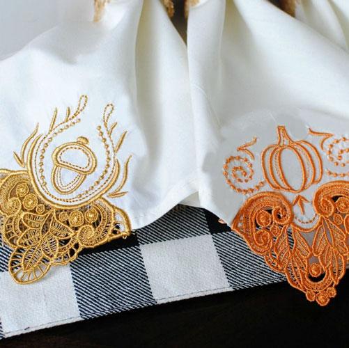 Fall Festive Embroidered Cloth Napkins