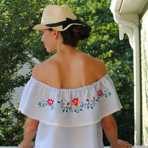 DIY Embroidered Off-the-Shoulder Top