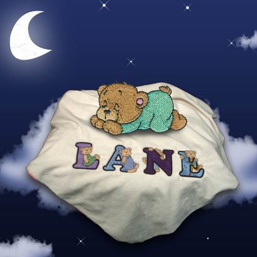 Alphabears and Friends Baby Blanket machine embroidery project