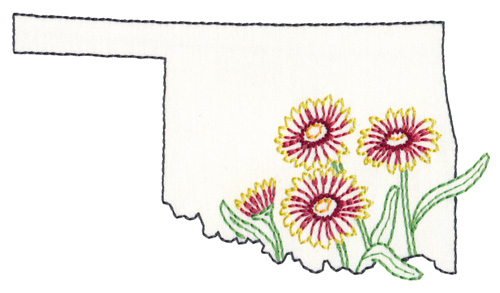 Oklahoma state flower embroidery design